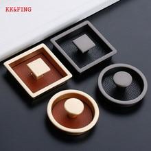 Drawer Pulls Furniture-Handle Insert Hidden Cabinet Hardware KK FING Black Modern Pearl