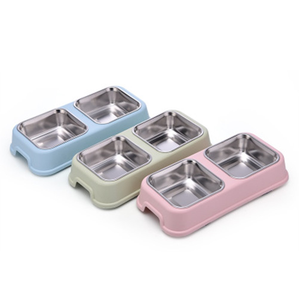 Double Dog Bowl Pet Feeding Station Stainless Steel Water Food Bowls Feeder Solution For Dogs Supplies Pet Bowl Food Container image