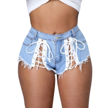 2021 Bandage Micro Fringed Sexy Hollow Out Denim Shorts Summer New Ripped Edge Club Party Female Skinny Short Jean Oversized Y2k