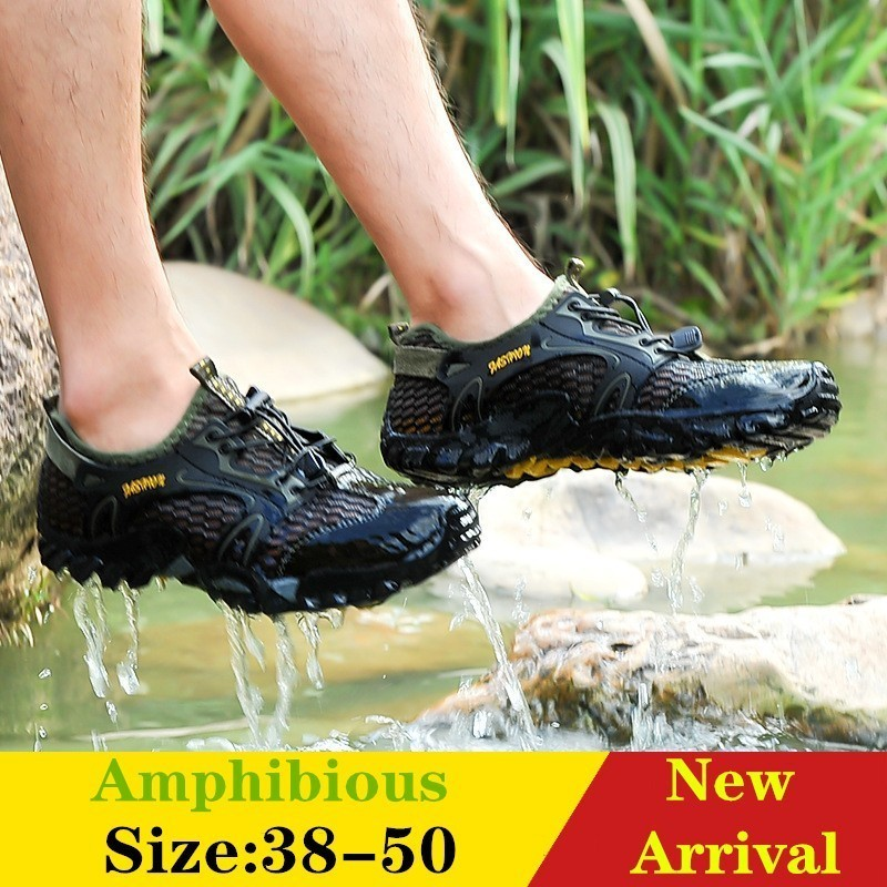 Men Amphibious Shoes Rock Reef Fishing Non-slip Sea River Stream Wading Mesh Sneakers Outdoor Rubber Sole Large Size Hiking Cool