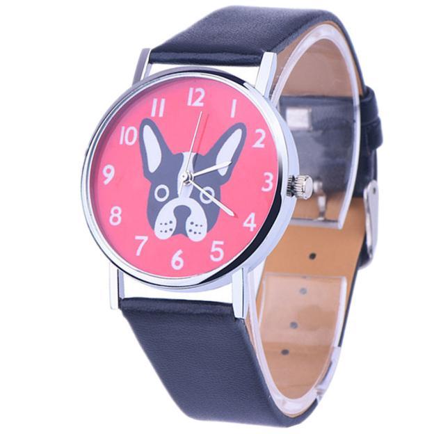 Women Vogue Analog Quartz Watch French Bulldog Pattern Pink Dial Wristwatch Ladies Montres Femmes Relogio Feminino Zegarek часы