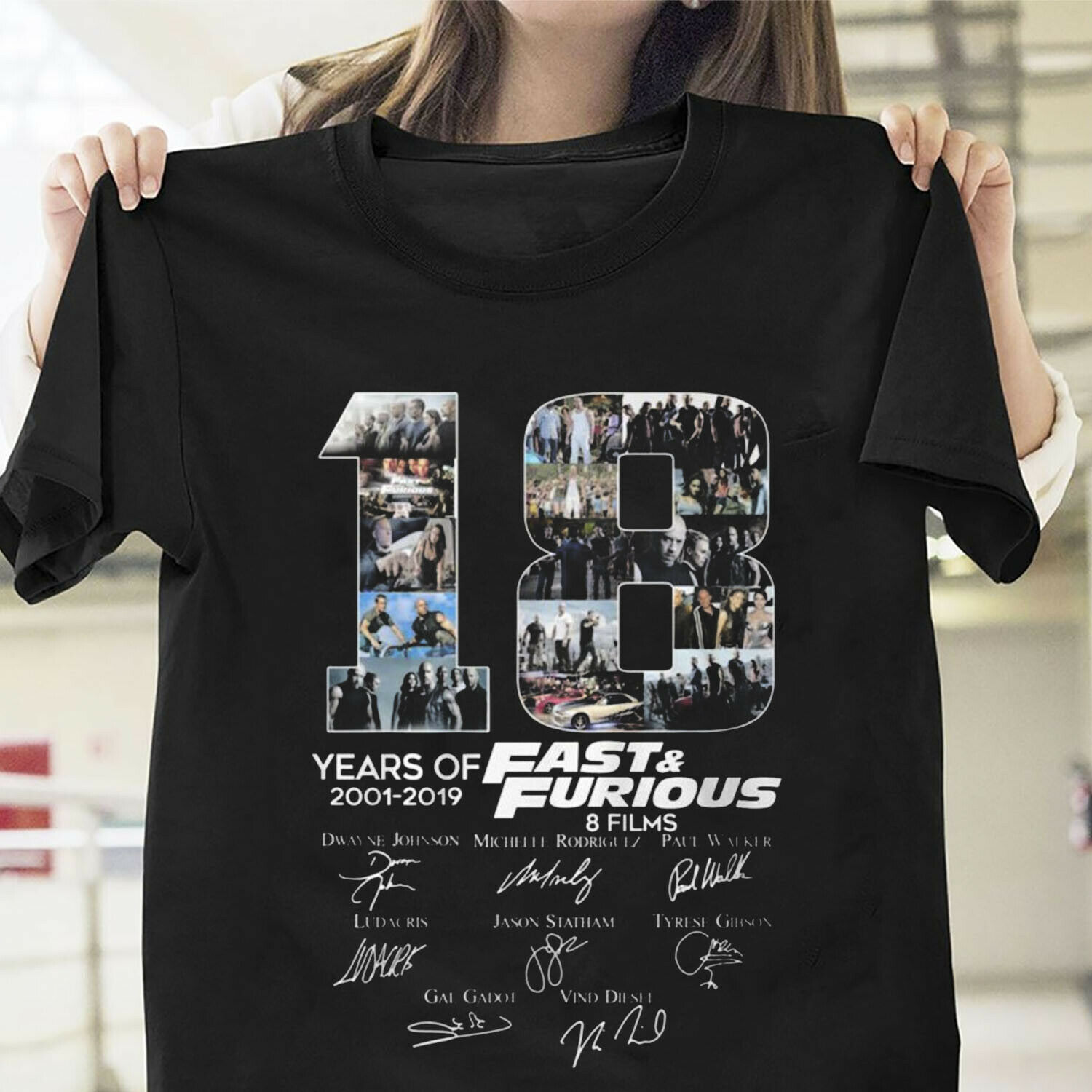 18 Years Of Fast & Furious 2001 2019 Character Signatures Tshirt Cotton Men  2019 Unisex Tees