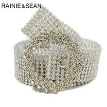 RAINIE SEAN Rhinestone Belts Women Plastic High Fashion Silver Gold Ladies Belt Diamond Wedding Female