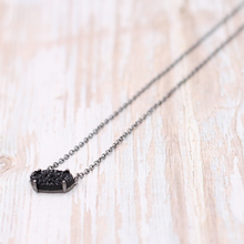 2019 Black Tone New Small Oval Druzy  Inlay Choker Pendant Necklace Better Quality Druzy Cute Oval Pendant Necklace