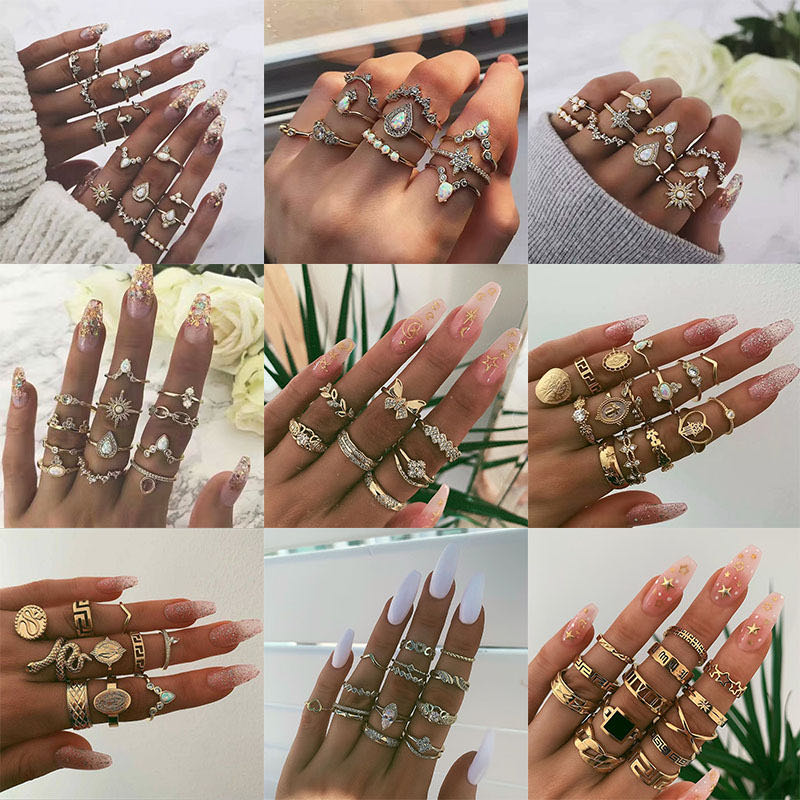 YOJP Vintage Crystal Flower Leaf Hollow Lotus Game Stone Silver Ring Set Women's Party Gift Outfit 2020 HOT popular Jewelry(China)