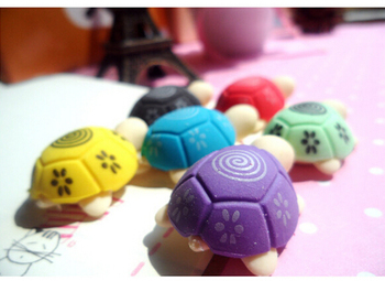 2PCS Mini Animal Rubber Eraser Cleansing Stationery Cute Cartoon Turtle Shaped Erasers For Kids Students School Office Suppliers image