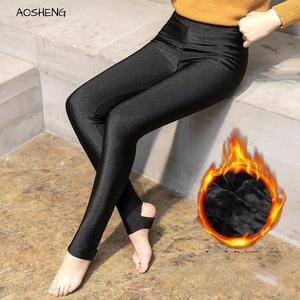Image 1 - AOSHENG Autumn Winter Thick Leggings Fashion Solid Slim Pants Lady fleece Warm Leggings Casual Black Shiny High Waist Leggings