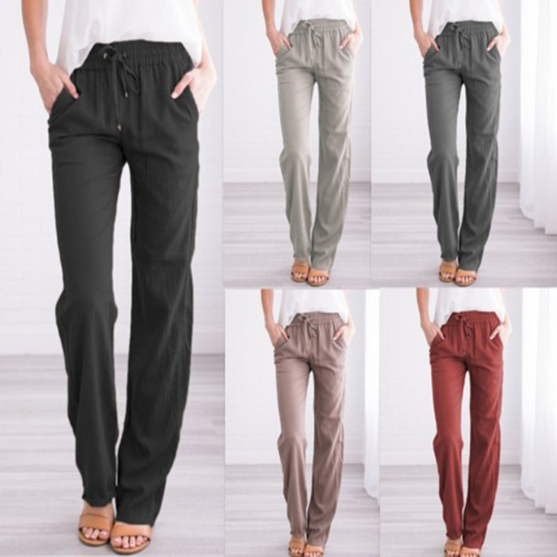 Vintage Causal Loose Cotton Linen Pants Women 2019 Straight Elastic Waist Long Trousers Pantalon Femme Pantalones Mujer