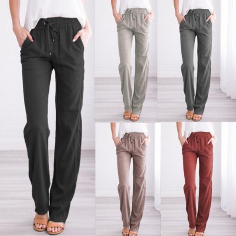 Vintage Causal Loose Cotton Linen Pants Women 2019 Straight Elastic Waist Long Trousers Pantalon Femme Pantalones Mujer