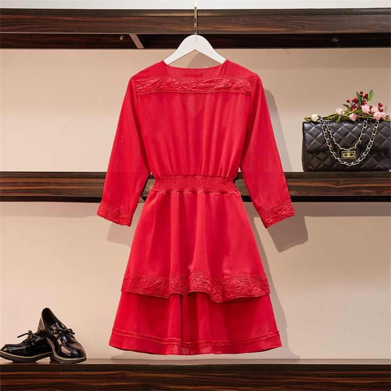 Большие размеры, женские красные платья, женские весенние 2009 Новые платья средней длины, поддельные две юбки