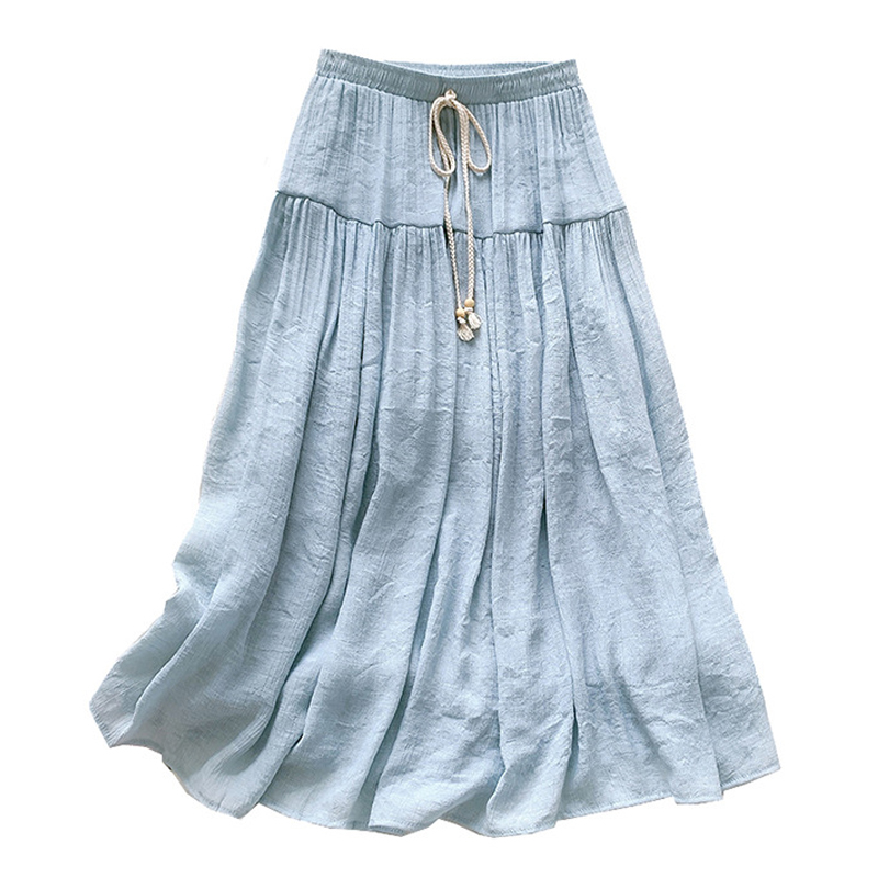 Faldas Mujer Moda 2021 New Summer Cotton Casual Lace Up Woman Skirts Patchwork Solid Pleated Long Skirts for Women Mujer Faldas