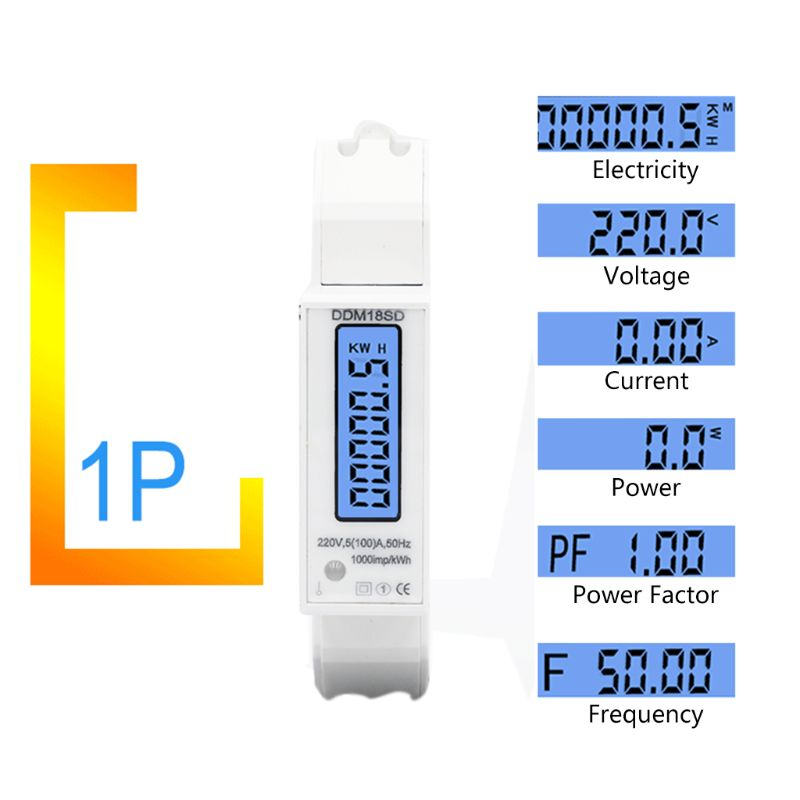 OOTDTY 5(100A) <font><b>Electricity</b></font> Single Phase Din Rail RS485 Modbus-RTU Power Energy <font><b>Meter</b></font> Dropshipping 63HF image