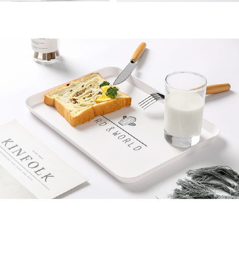 Пластиковый поднос для еды, поднос для чая, завтрака, хлеба, тарелки для хранения, квадратные тарелки для косметики, тарелки, блюдо, 1 шт.-5