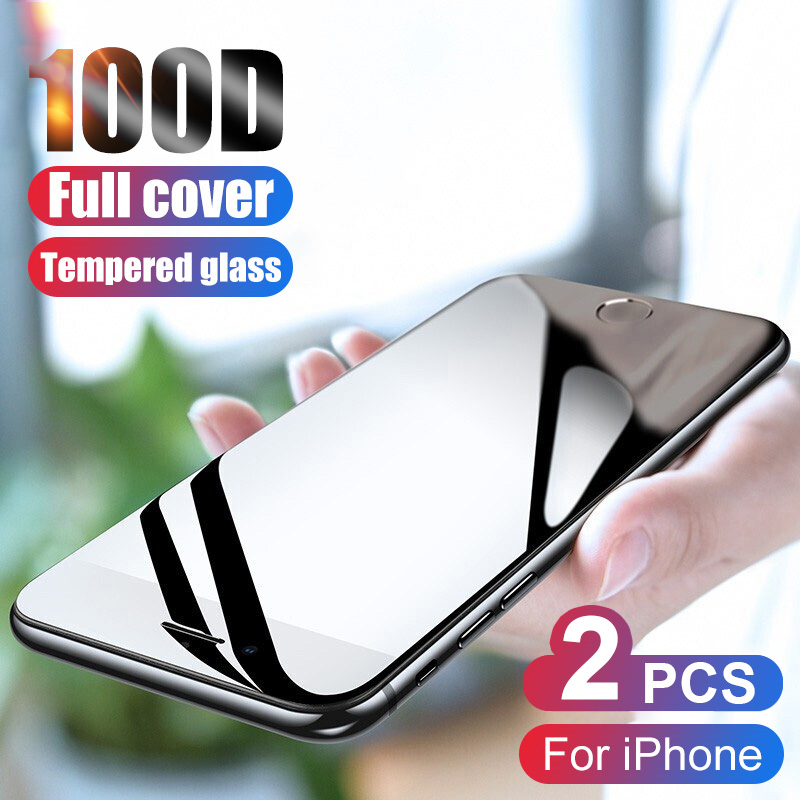 2Pcs 100D Curved Protective Tempered Glass On The For IPhone 7 6 8 6S Plus Screen Protector For IPhone X XR XS 11 Pro Max Glass