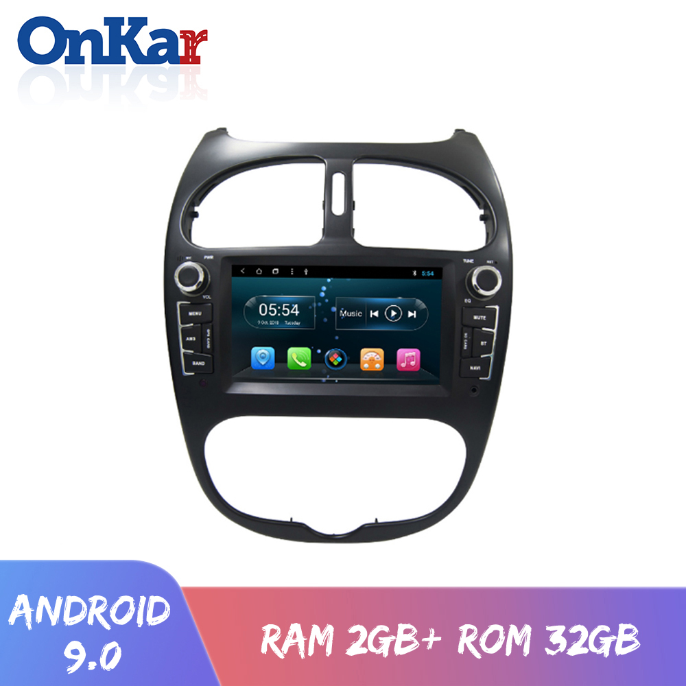ONKAR New Android 9.0 car dvd cd gps navgation system for <font><b>Peugeot</b></font> <font><b>206</b></font> 2000-2009 with 6.2 inch touch <font><b>screen</b></font> wifi bluetoth radio image