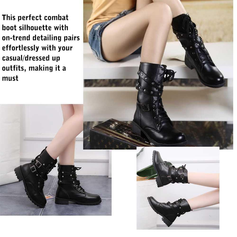 Kadın deri orta buzağı çizmeler Vintage bağcıklı kemerler ordu Punk gotik motosiklet çizmeler yuvarlak ayak sonbahar kış siyah savaş botları