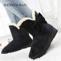 Winter Snow Boots Women Fur Bow Ankle Boots Ladies Platform Plush Shoes Warm Butterfly Slip-On Black Botas Mujer Invierno 2020