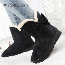 Winter Snow Boots Women Fur Bow Ankle Boots Ladies Platform