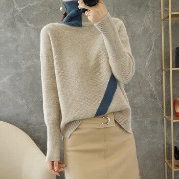 Nuevo Otoño e Invierno de Color de moda de bloqueo de suéter de cuello alto 100% suéter de lana pura las mujeres Jersey solapa de punto de lana