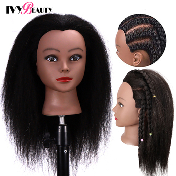Female Mannequin Head With Hair For Braiding African Mannequin Practice Hairdressing Training Head Dummy Head For Cosmetology practice braiding mannequin head with hair black training head hair doll head mannequins for sale hairdressing head female
