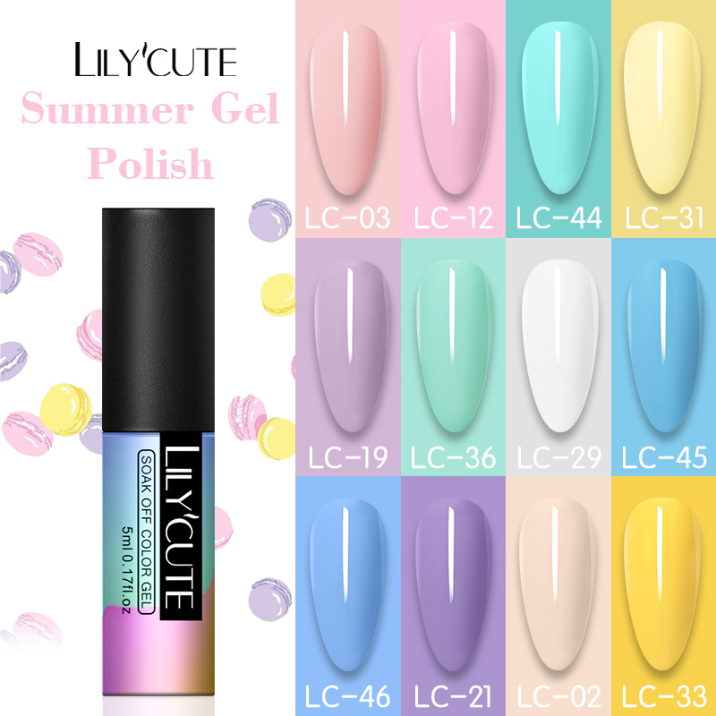 LILYCUTE Nail Art Nail Gel Polish Hybrid Varnishes Summer Color Series UV Gel Polish Soak Off Base Top Coat Gel Nail Art Design