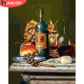 HUACAN Painting By Number Fruit Drawing On Canvas HandPainted Painting Art Gift DIY Pictures By Number Red Wine Kits Home Decor