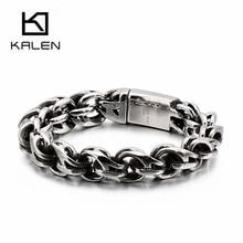 Браслет KALEN мужской скрученный из нержавеющей стали, ювелирное изделие в стиле «Бохо», рука на руку, браслет в стиле панк, хип-хоп, 23 см, 9 дюйм...