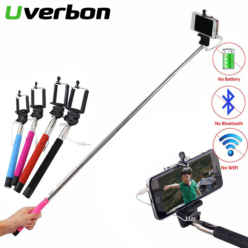 Mini Self Stick Monopod Tripod Wired Foldable Selfie Stick Cable Extendable Built-in Shutter Stick For Iphone Samsung Huawei