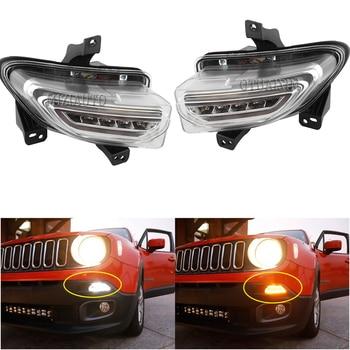 цена на LED Headlight fog lights For Jeep Renegade 2015-2018 DRL headlights fog light daytime running lights driving lights foglights