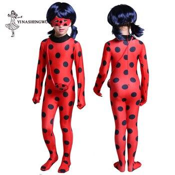 Ladybug Girls Costume Fantasia Kids Adult Lady Bug Costumes Women Child Spandex Jumpsuit Fancy Halloween Cosplay Marinette Wig 2