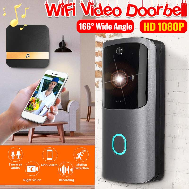 1080P Two-Way Video Wireless Security Doorbell HD Visual Intercom Door Bell Camera With Indoor Chime Support Free Cloud Service