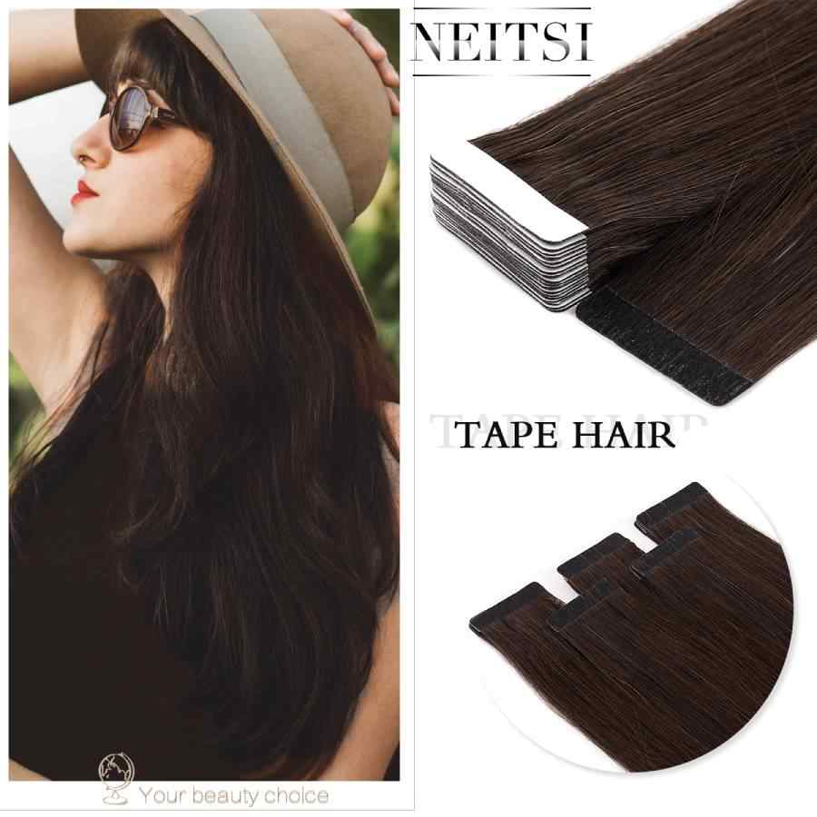 "Neitsi Straight Skin Weft Adhesive Hair Non-Remy Tape In Human Hair Extensions 16""  20"" 24"" Double Side Tape"