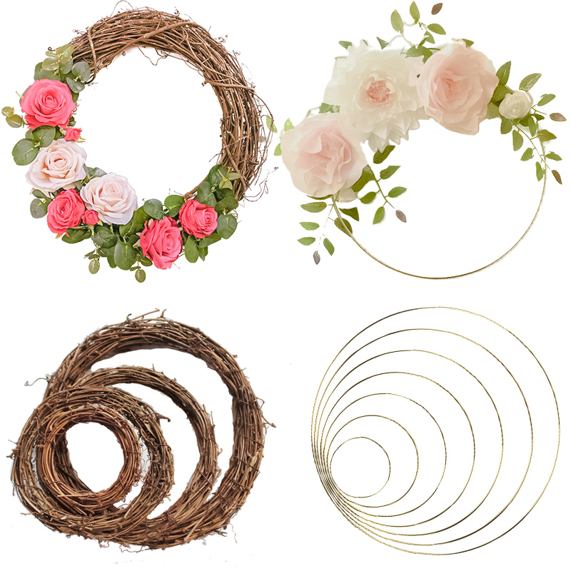 Wedding Decoration 10-40cm Rattan Wreath Metal Hoop Wreath Decor Floral Hoop Christmas Decor For Home Hanging Artificial Flower