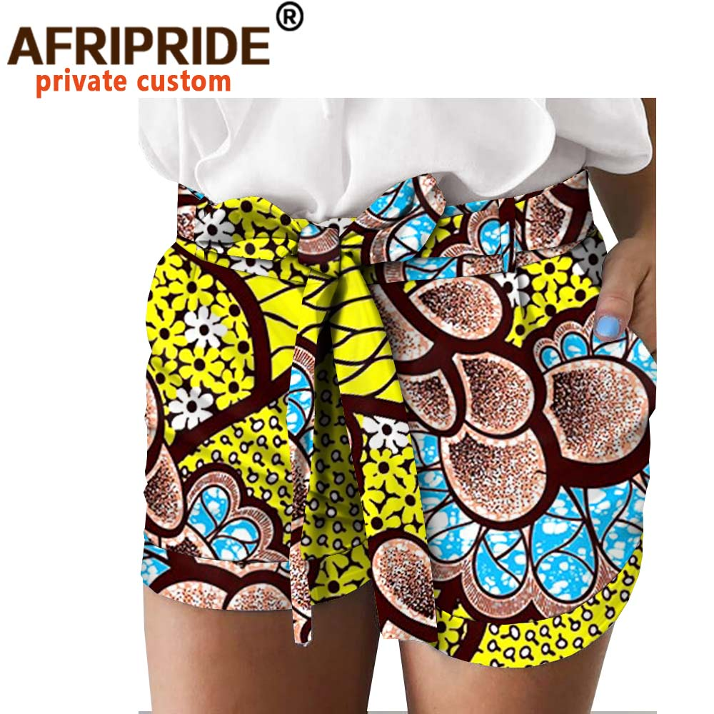 2020 African Print Summer Shorts For Women AFRIPRIDE Women Casual Shorts With Pocket Belt Dashiki Ankara Print A1821005