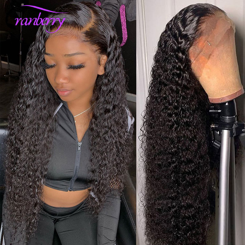 Brazilian Water Wave Wig 13*4 Lace Front Human Hair Wigs Pre Plucked Natural Hairline 150% Density Remy Hair Wigs Cranberry Hair