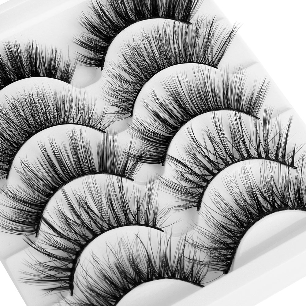 5 Pairs 3D Mink Hair Mixed Styles False Eyelashes Wispy Full Volume Natrual Lashes Feathery Flared Variety Pack Lashes Handmade