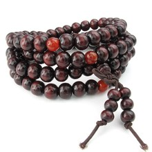Jewelry Men Bracelet, 8mm Tibetan Buddhist Sandalwood Beads Prayer Bead Chain, Wood, Red(China)