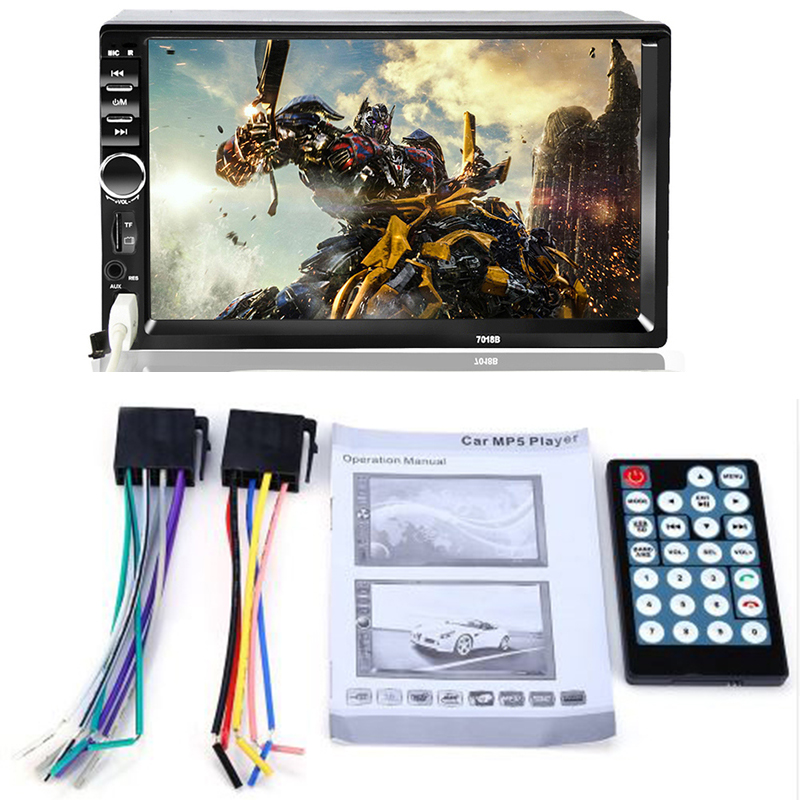 Double 2 Din Car Video Player 7 inch Touch Screen Multimedia player <font><b>MP5</b></font> Player USB FM Bluetooth Support Rear View Camera <font><b>7018B</b></font> image