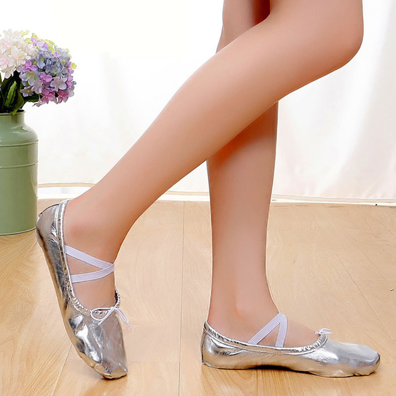 USHINE new professional PU gold silver training body shaping yoga flip flops belly ballet dance shoes for kids girls woman