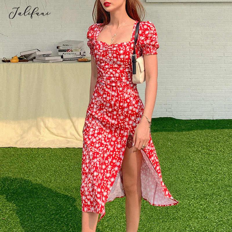 フレンチロマンスレトロドレスの女性花柄スクエア襟ドレス新夏フリルパフスリーブ分割ミディドレスvestido