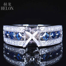 HELON Round Cut 6.5mm Solid 14k White Gold 0.7ct Natural Diamond & Princess Sapphires Semi-Mount Wedding Women Fine Jewelry Ring(China)