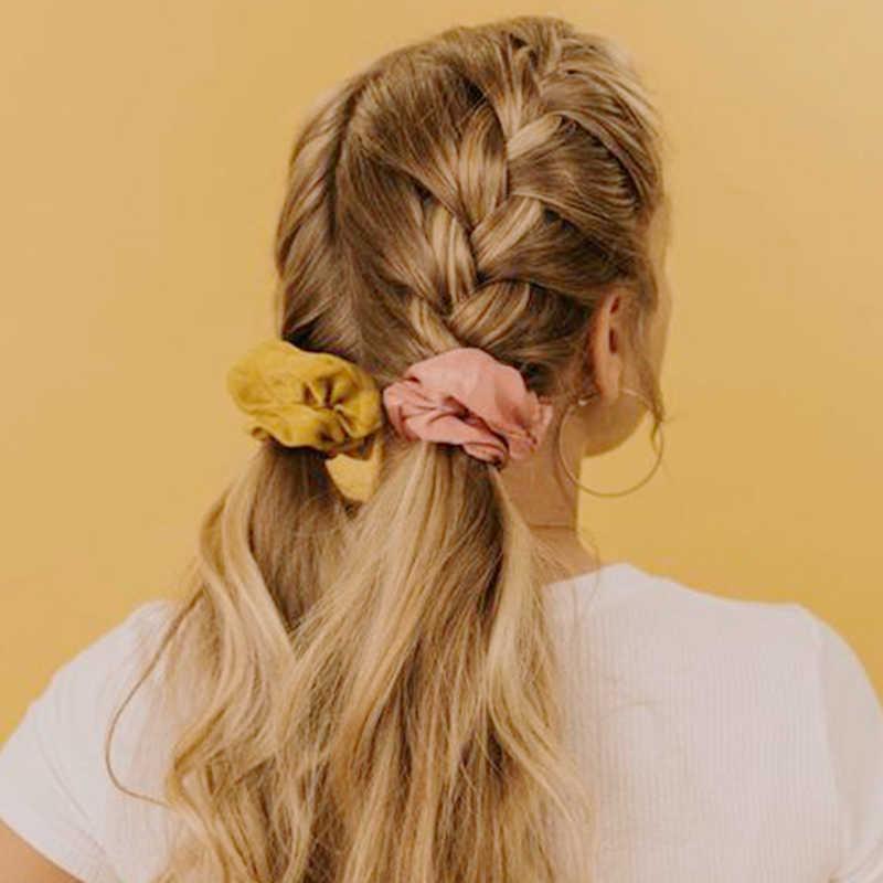 Mode Seide Scrunchies Pack Frauen Haar Seil Gitter Elastische Haar bänder Gummiband Zubehör Für Mädchen Neue 2020 Kopfschmuck