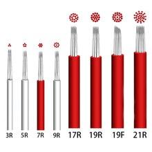 50 sztuk/partia 3/4/5/7/ 9/17/19/21R tatuaż igły pióro Semi permanentny makijaż Microblading Blade instrukcja Fog Pen igły tatuaż akcesoria