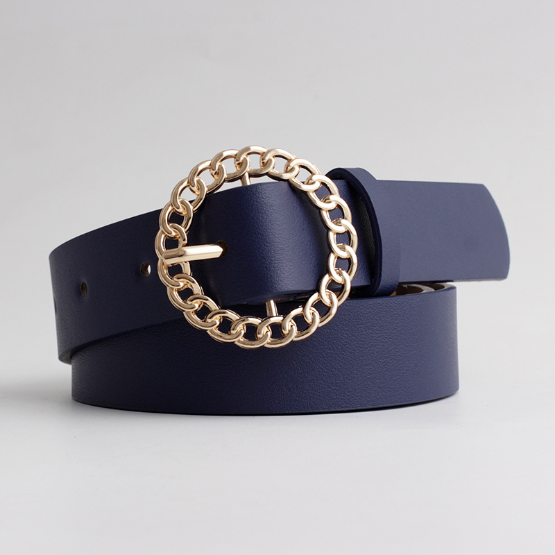 2020 New Designer Women's Hollow Out O Ring Round Buckle Belt Female Adjustable Black White Brown Leather Waist Belts for Women 4