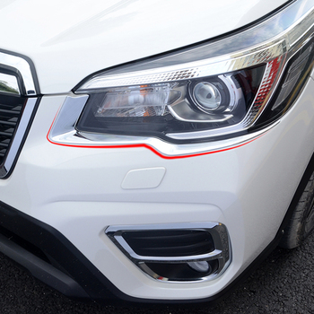 Car-styling Car ABS Chrome Headlight Eyelid Trim Sequins Strips Covers Auto Sticker Accessories Fit For Subaru Forester SK 2019