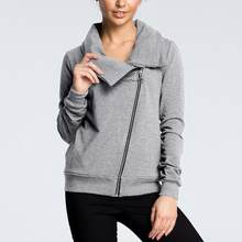 Casual Einfarbig Frauen Geraffte High Neck Zip Up Sweatshirt Mantel(China)