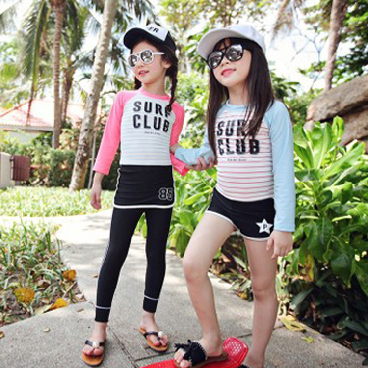 KID'S Swimwear Sports Split Type Boxers Long Sleeve Sun-resistant Middle And Large Girls GIRL'S Students Tour Bathing Suit