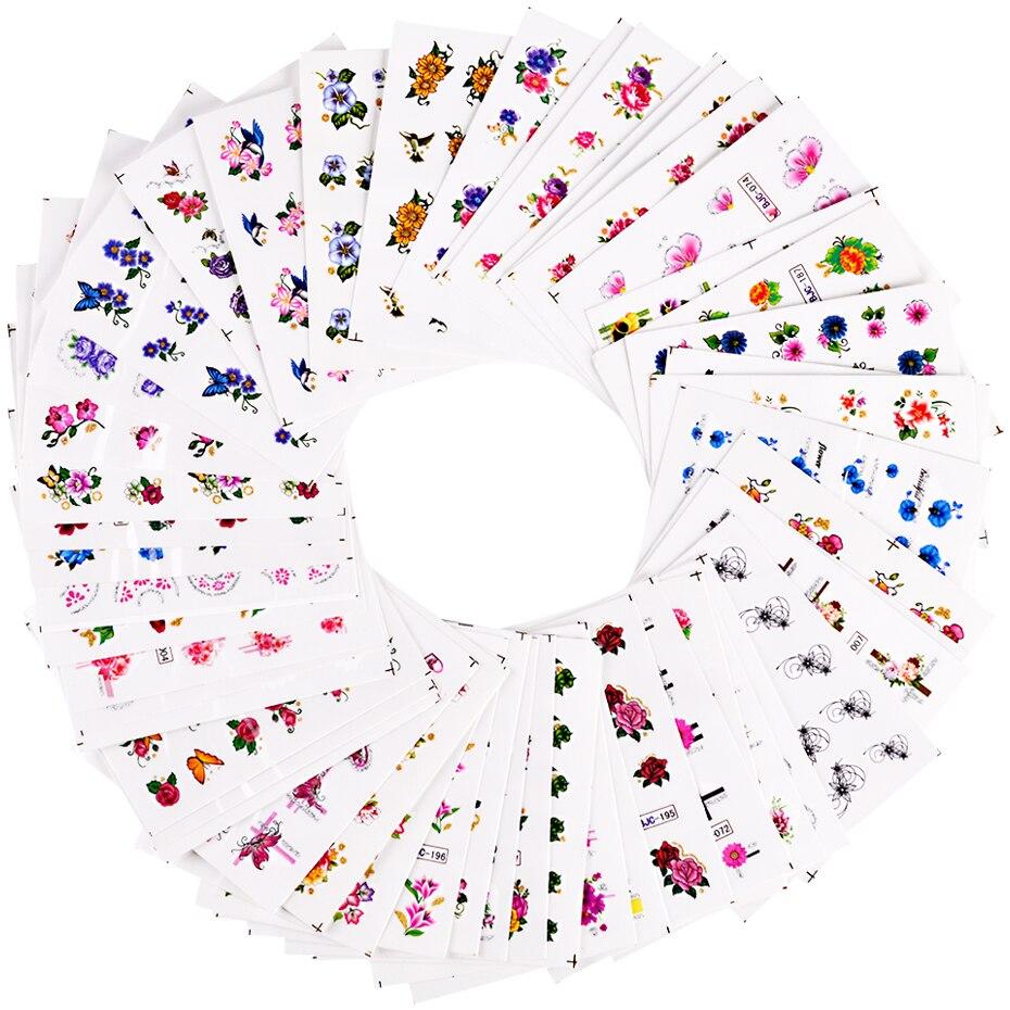 55pcs/set Mix Flower Designs Water Transfer Slider Wraps Glitter Powder Nail Sticker Decal Salon Decorations For Beauty SABJC55