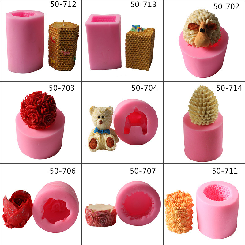 DIY Tools Silicone Mold Candle  Rose Bees Mousse Pine Cone Deer Cake Jelly Chocolates Making Baking Tool Mould