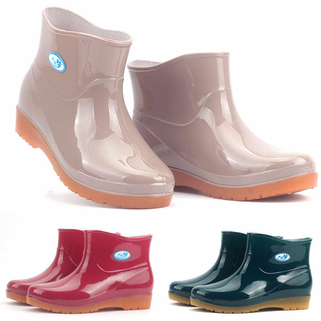 2019 yeni eğlence yağmur çizmeleri kadın düşük topuklu yuvarlak ayak ayakkabı su geçirmez orta tüp yağmur çizmeleri yağmur günü ayakkabı chaussures femmes